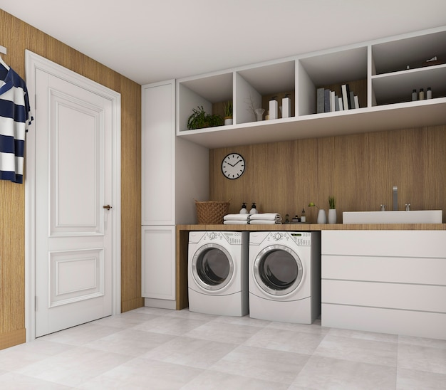 Wood laundry room with loft style