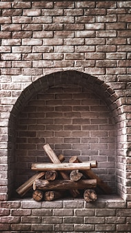 木の丸太暖炉レンガ内部の背景