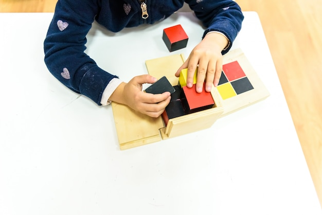 Wood montessori materials for learning by the students themselves.