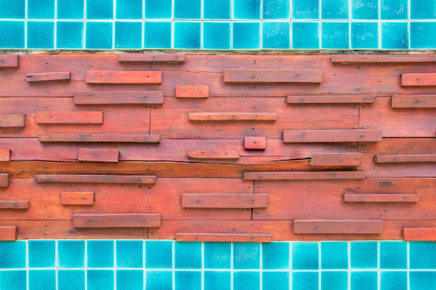 Wood and mosaic background.