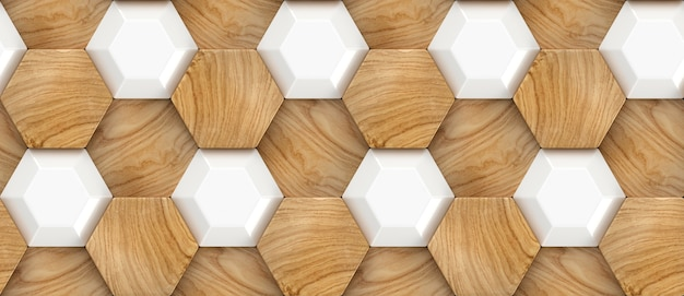 Wood oak 3d tiles texture with white plastic elements and material wood oak