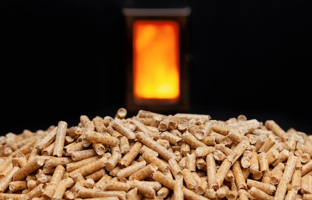 Wood pellets and combustion chamber.