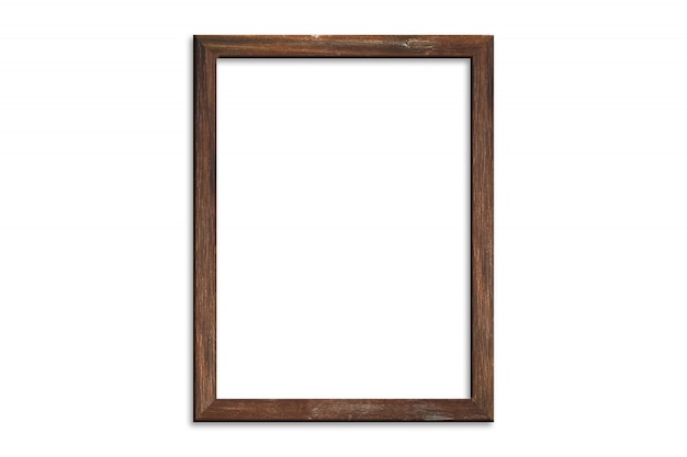 Wood picture frame isolated on white background with clipping path . image display