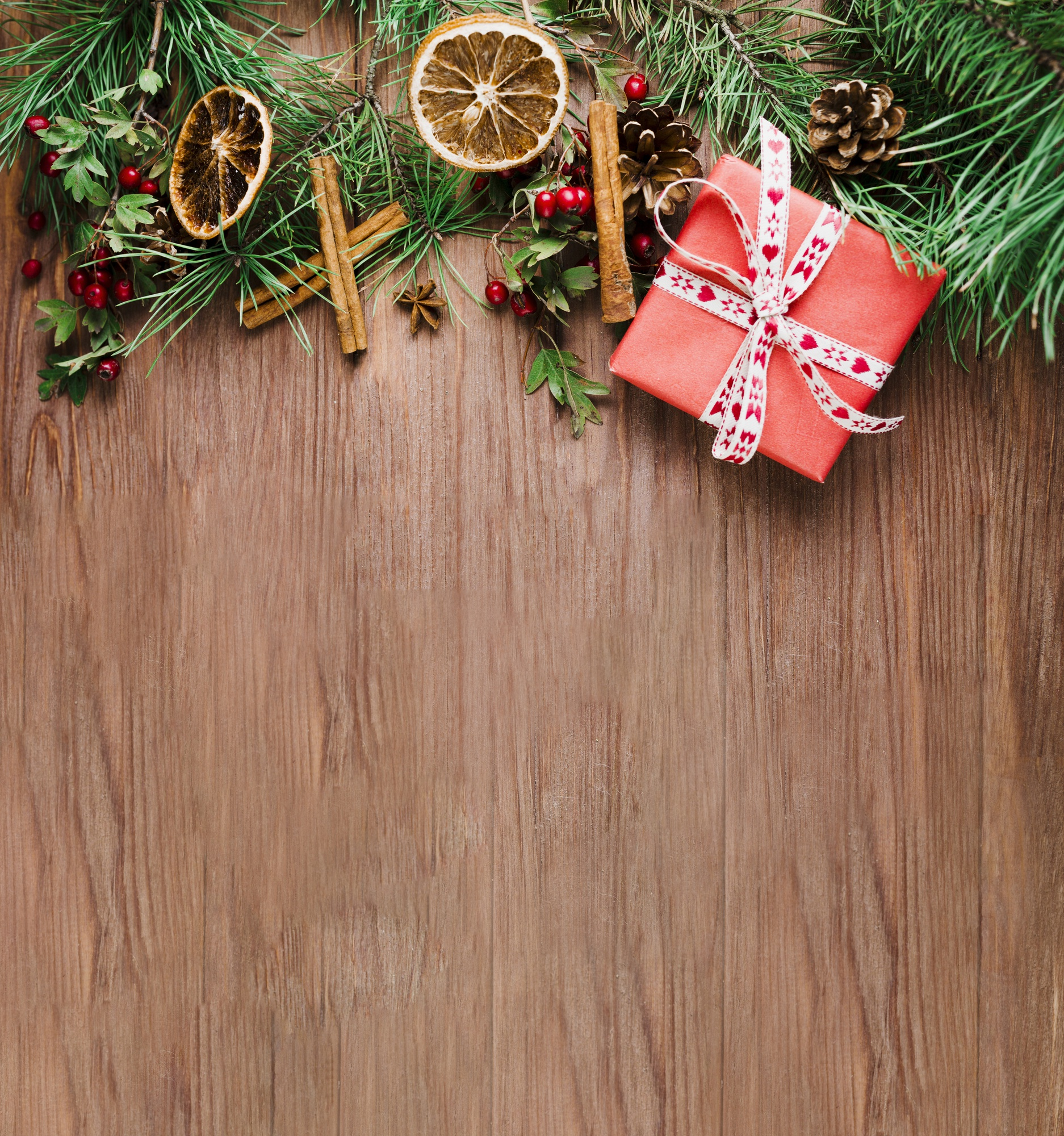 Wood plank with Christmas branch