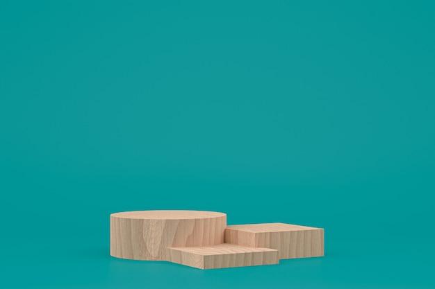 Деревянный подиум минимальный 3d-рендеринг или подставка для презентации косметической продукции Premium Фотографии