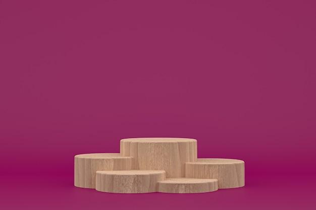 Деревянный подиум минимальный 3d-рендеринг или подставка для презентации косметической продукции