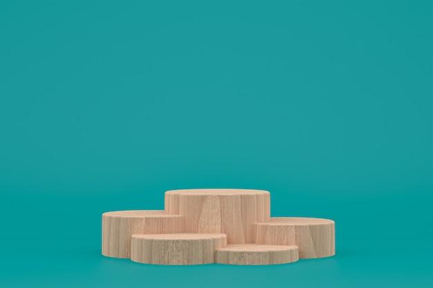 Деревянный подиум минимальный 3d-рендеринг или презентация продукта на стенде