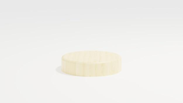 現代のシンプルなミニマリストをレンダリングする白い背景の3dイラストに木製の表彰台のミニマリスト