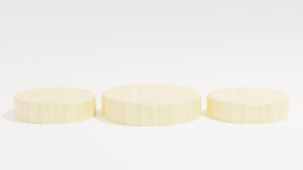 Wood podium minimalist on white background 3d illustration rendering  modern  simple  minimalist