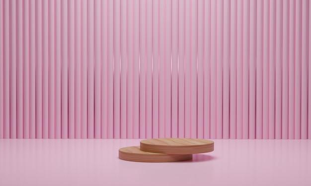 ピンク色の背景に木製の表彰台
