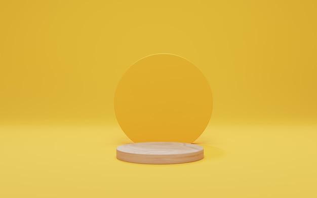 Деревянный подиум на желтом фоне. макет для показа косметической продукции, подиум, пьедестал. абстрактная минимальная сцена с геометрическими формами. 3d визуализация