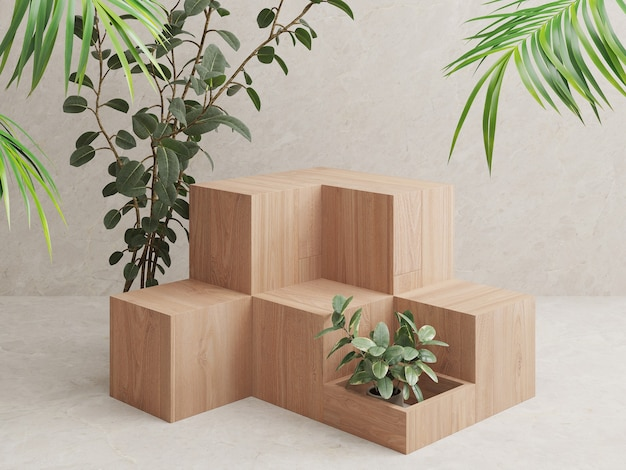 Wood podium product display with tropical leaves on white background