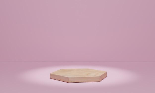 Wood podium with spotlights on pink