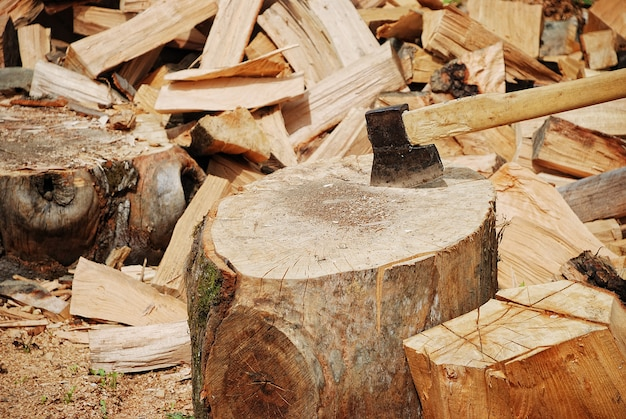 Wood prepared with axe for the winter