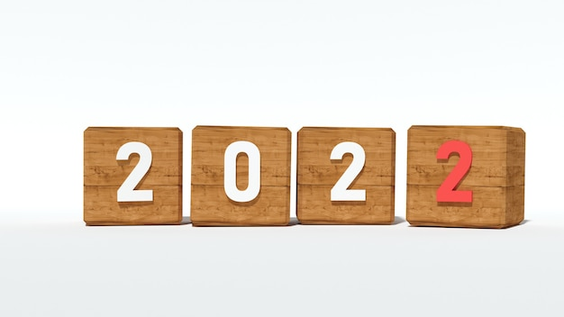 Wood puzzle of year 2022, 3d rendering