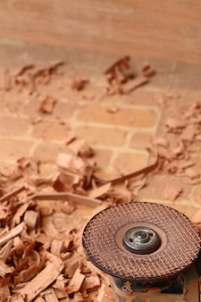 Wood sawdust and tools