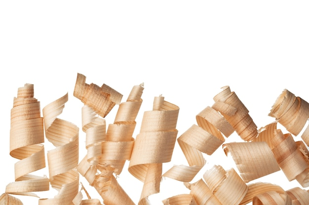 Wood shavings curls bunch isolated on white background