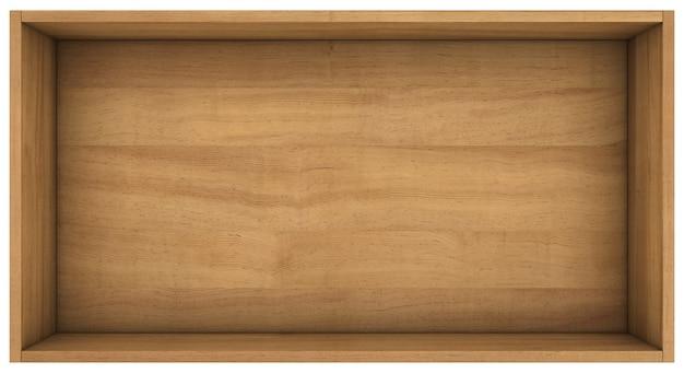 Wood shelf. 3d render on white space.