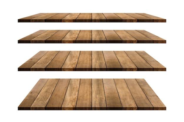 白い背景で隔離の木製棚テーブルトップコレクションクリッピングパスはこの画像に含まれています