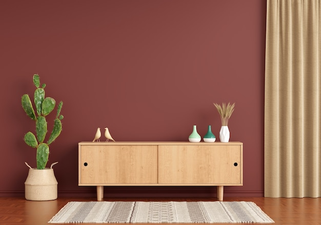 Wood sideboard in brown living room with copy space