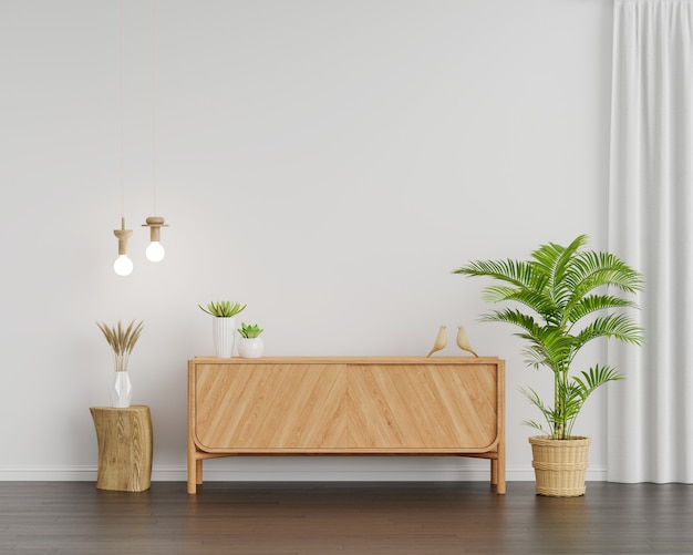Wood sideboard in living room interior with copy space