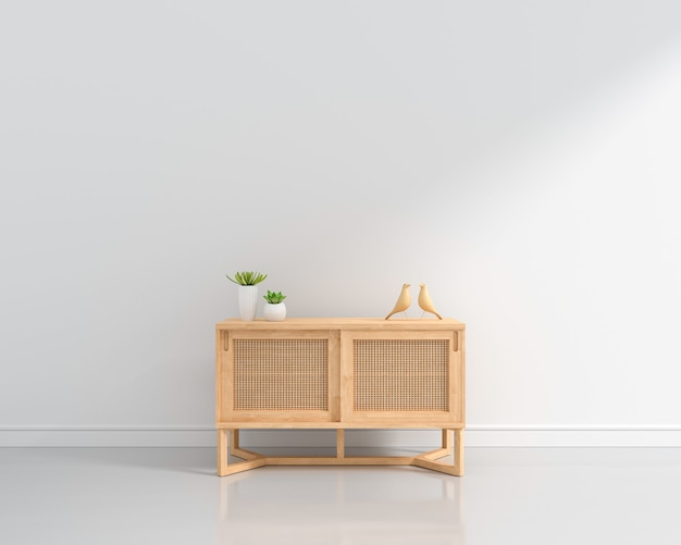 Wood sideboard in white living room with copy space