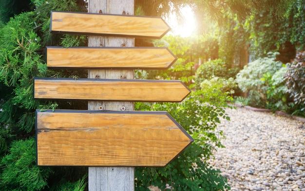 Wood sign mockup on spring summer background