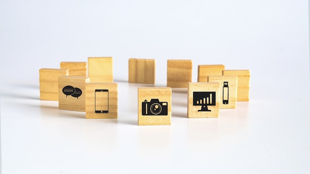 Wood square or cubes with icon on background.