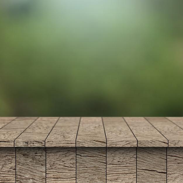 Деревянная таблица и предпосылка нерезкости с монтажом дисплея для продукта.