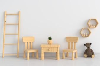 モックアップ、3Dレンダリングのための白い子供の部屋の木製のテーブルと椅子