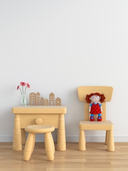 Wood table and chair in white child room for mockup