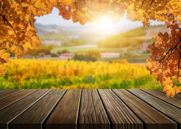 Wood table in autumn vineyard country landscape.