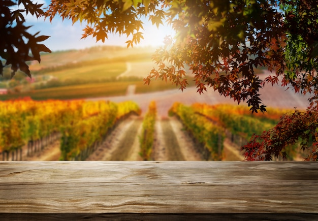 Wood table background in autumn vineyard country landscape.