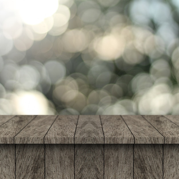 Wood table and blur background with display montage for product.