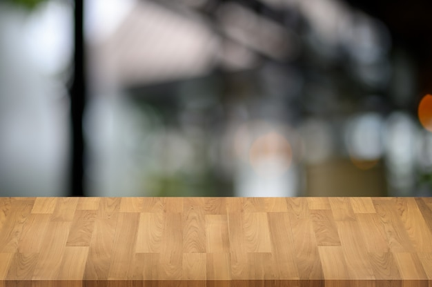 Wood table on bokeh nature