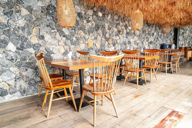 Wood table and chair in cafe restaurant