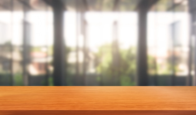 Wood table in city center modern office background