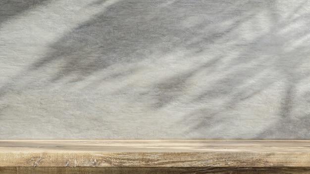 Деревянный стол счетчик с бетонной гранж текстуры фона. 3d визуализация