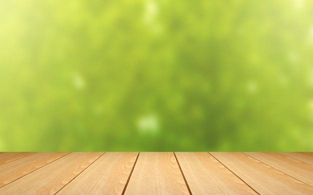 Wood table on green blur background