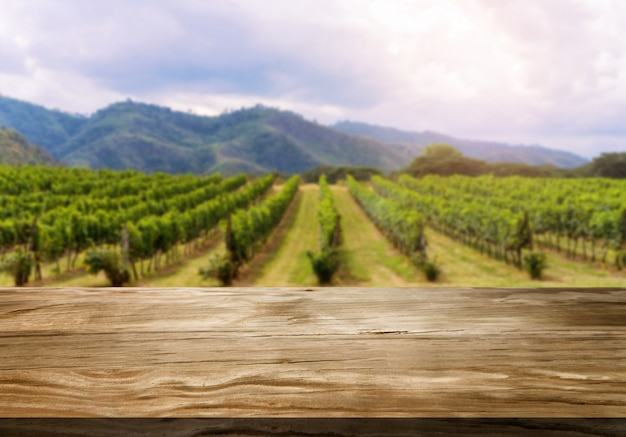 Wood table in the green spring vineyard landscape.