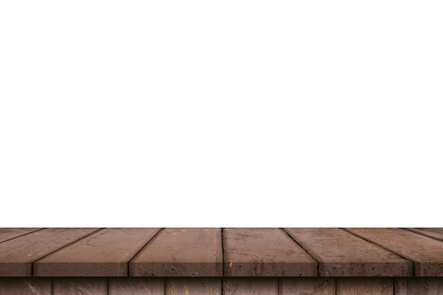 白い背景で隔離の木製テーブル