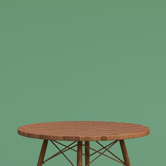 Деревянный стол или подставка для продукта для демонстрации продукта на зеленом фоне