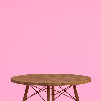 Wood table for product display on pink background