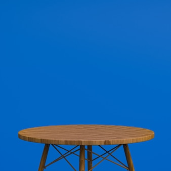 Wood table or product stand for display product on blue background