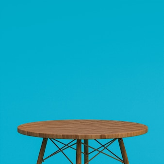 Wood table or product stand for display product on blue