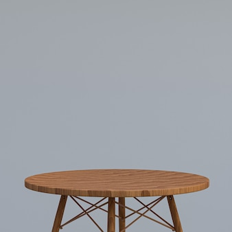 Wood table or product stand for display product on gray