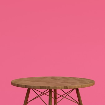 Wood table or product stand for display product on pink