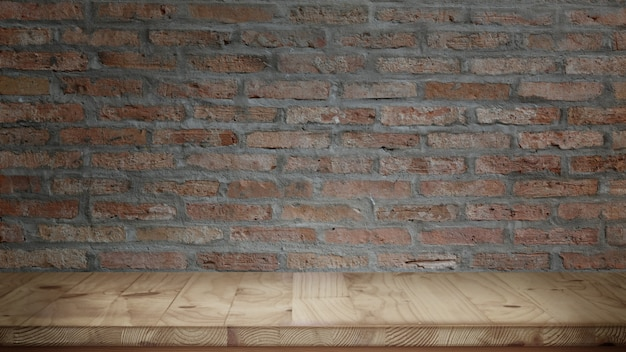 Wood table and red brick wall background