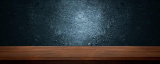 Деревянный стол для презентации и демонстрации продукта на мягком синем и темно-синем фоне из цемента и бетона.