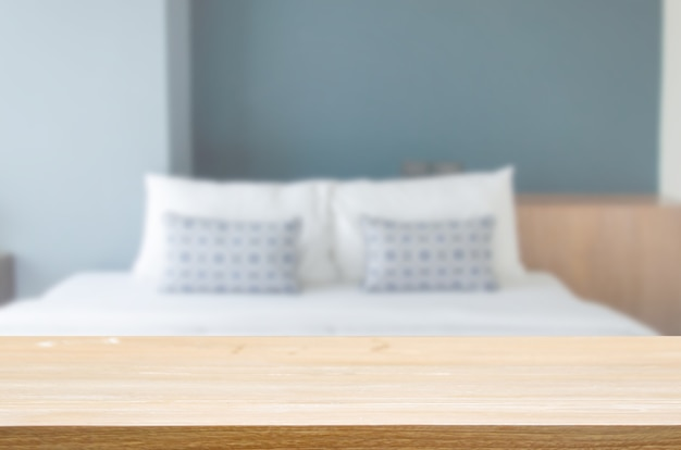 Wood table top blur pillow on bedrooms